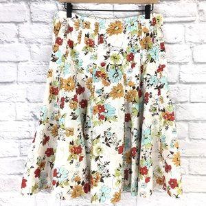 CAbi Floral Palapa Pintuck Full Boho Skirt Sz 8